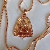 шикарная иконка-ладанка Божья Матерь Семистрельная, в оригинальной оправе, позолота 585 пробы