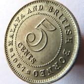 монета Малайя и Британское Борнео 5 центов, 1957