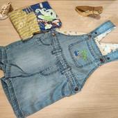 Распрода!!! Суперовый наборчик для малыша! Джинсовый комбинезон шортиками 86 и 2 бодика-майки 86/92!