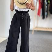 укороченные льняные брюки