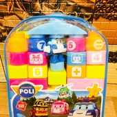 Конструктор Мега блок для малышей в рюкзачке. Робокар поли