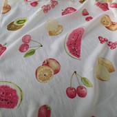 Замечательный Тюль с фактурой льна и принтом фрукты!