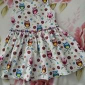 Платье с совушками! 2-4года