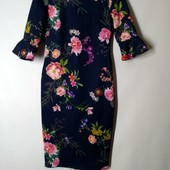 Платье миди фктляр синие в цветы F&F