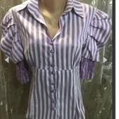 Сиреневая блуза в полоску 40,42р.
