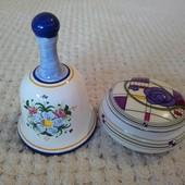 Колокольчик для интерьера и шкатулка керамическая