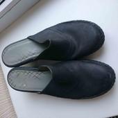 чёрные кожаные саббо стелька 26.5-27см каблук 7см