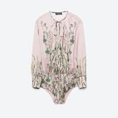 Боди блузка как шёлк от Зара zara. Декольте. Пыльно-розовый, нюдовый