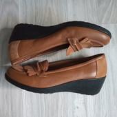 Фирменные новые комфортные туфли-макасины из эко-замши и эко-кожи р.38-38,5 на ножку 24,5-25см