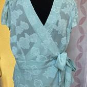 Мятная Блуза, блузка, рубашка, кофточка с декольте назапАх