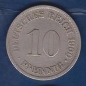 Германская империя 10 пфеннигов 1900