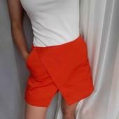 Стильные шорты юбка кораллового цвета