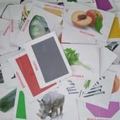 100 развивающих карточек для ребенка(животные, овощи, фрукты, фигуры, цвета, инструмент)