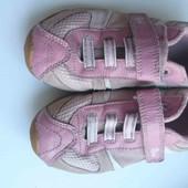 розовые нат.кожа+замш кроссовки. р-р UK 11,стелька 19см