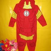 Флисовый детский комбинезон слип пижама железный человек !!!!!!!!!!