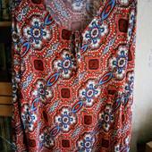 Брендовая вискозная блуза р.18 на ПОГ -56-60 см, Papaya