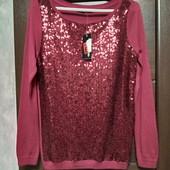 Фирменный новый красивый тонкий свитерок с пайетками р.8-12 оверсайз