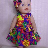 только Одежда ! Комплект 5 :платье и повязка для куклы Беби борн ростом 43 см.Или подобных кукол .
