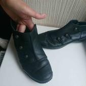 чёрные кожаные ботики рр39, стелька 25см