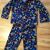 ✔✔✔Теплая мягкая пижама на байке Микки Маус 3-4 года 98-104 100% котон уп 15%, нп 5% скидка!✔✔✔