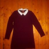 Стильне вязане плаття з комірчиком) р 42