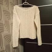 Фирменный красивый свитер-сеточка в состоянии новой вещи р.14-16 акрил альпака шерсть вискоза