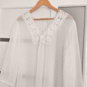 нежная блуза в горошек с вышивкой и завязками