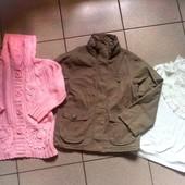 Одним лотом √√ модная курточка хаки , акриловый жакет +нарядная блузка.