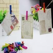 Разноцветные деревянные мини прищепки для декора или поделок\10 шт.цвет ассорти \