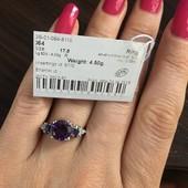 Натуральный бразильский аметист 2.09 карата . Новое с биркой серебряное кольцо . 925 проба серебра