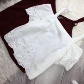 Качество!!! Натуральная белоснежная блуза/шитье от New Look, в отличном состоянии