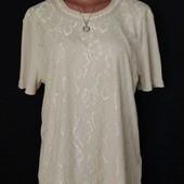 Комбинированная футболка с кружевом, грудь-114