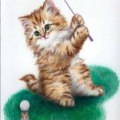 """Алмазная вышивка """"Котик"""". Полная выкладка"""