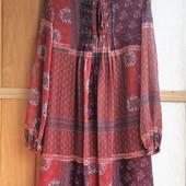 Качество!!! Красивое свободное(пояс) платье, шифон на подкладке от Mango, новое состояние