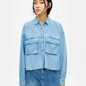 Стильная джинсовая рубашка в стиле оверсайз pull&bear, укороченная, размер s