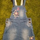 Стильный джинсовый сарафан (двунитка) Nutmeg, девочке 5-6 лет