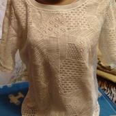 Кружевная блузка белого цвета(на подкладке) на М
