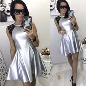 Платье из эко кожи с ажурным рукавом разм М