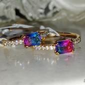 не пропустите! шикарное кольцо с фианитами и кристаллами Swarovski, р.17, 17.5, позолота 585 пробы