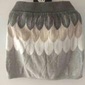 H&M юбка 6-7-8л 116-122-128см вязаная теплая мини лёгкий блеск