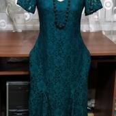 Очень красивое нарядное платье цвета изумруд р.10. Люксовый сток ,в состоянии новой вещи.