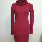 Новое трикотажное платье с большим хомутом из ткани с шерстью, размер 46-50