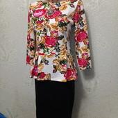 Шикарное нарядное яркое плотненькое платье вышиванка с баской р.42-44 Новое Акция читайте