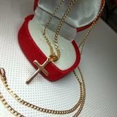 Позолоченная цепочка (50см*2 мм)с крестиком.Позолота 585 проб