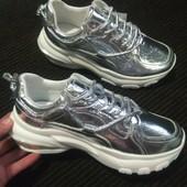 Кроссовки в серебре - на белоснежной платформе-глянец. 36-41.