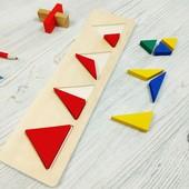 """Дидактическая головоломка деревянная сортер- рамка с вкладышами """" """"Геометрия. Треугольник"""""""