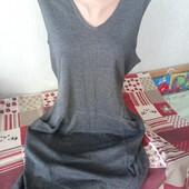 красивое серое платье, утепленное, можно на животик - замеры есть