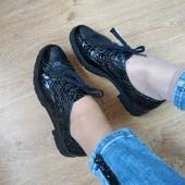 Кожаные туфли на тракторной подошве 37р