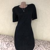 Шикарное чёрное платье-жатка на подкладке