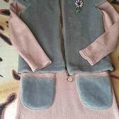 Тёплое вязаное платье с жилткой- меховушкой!